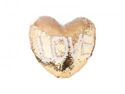 Heart Shaped Sequin Pillow Cover (Gold w/ White, 39*44cm)