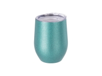 12oz/360ml Stainless Steel Stemless Glitter Cup w/ Lid (Blue)
