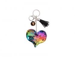 Sequin Keychain w/ Tassel and Insert (Mixed-Color Heart)