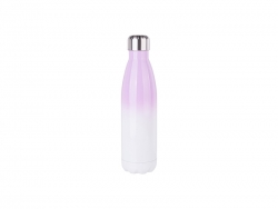 17oz/500ml Stainless Steel Cola Shaped Bottle (Gradient Color White&Purple)