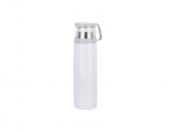 17oz/500ml Stainless Steel Flask w/ Clear Cup Cap (White) MOQ:2000