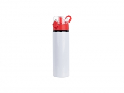 Sublimation 750ml Alu water bottle with Red cap (White) MOQ: 2000