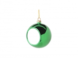 8cm Plastic Christmas Ball Ornament (Green)