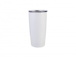20oz Stainless Steel Tumbler with Ringneck Grip (White)