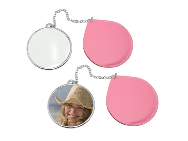 Sublimation Round Makeup Mirror with Leather Case