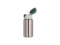 18oz/550ml Sublimation Stainless Steel Bottle with Straw (Silver)
