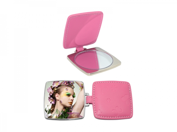 Sublimation Square Hand Mirror with Leather Case