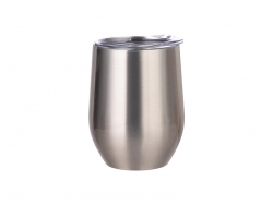 12oz Stainless Steel Stemless Wine Cup (Silver)
