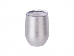 12oz/360ml Stainless Steel Stemless Glitter Cup w/ Lid (Silver)
