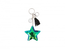 Sequin Keychain w/ Tassel and Insert (Blue and Green Star)